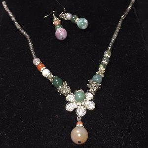 Jewelry - TB55 Jasper,Agate and Austrian Crystal set